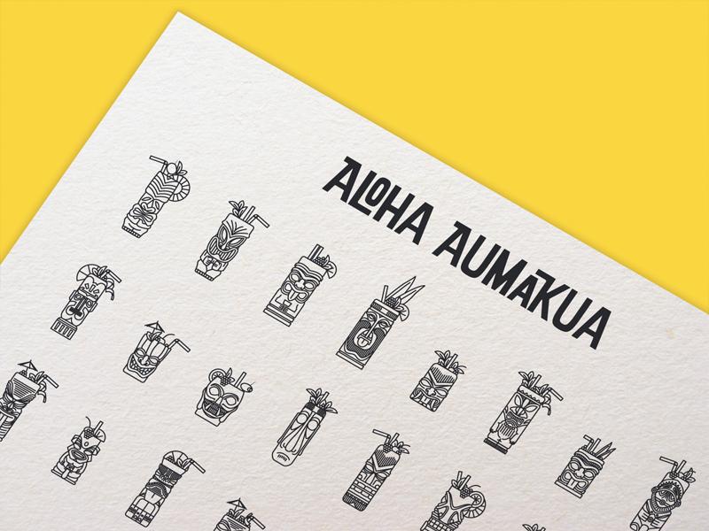 Aloha Aumakua (iconset) onestroke illustration iconset flat geometric download aloha drawing icon cocktail tiki