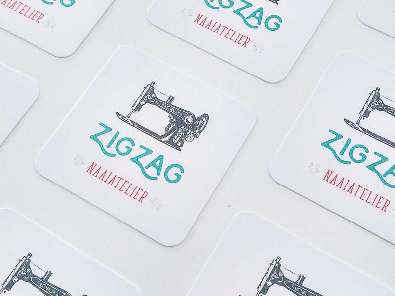 Zigzag identity retro print design cute business card branding graphic logo tailormade handmade icon sewing