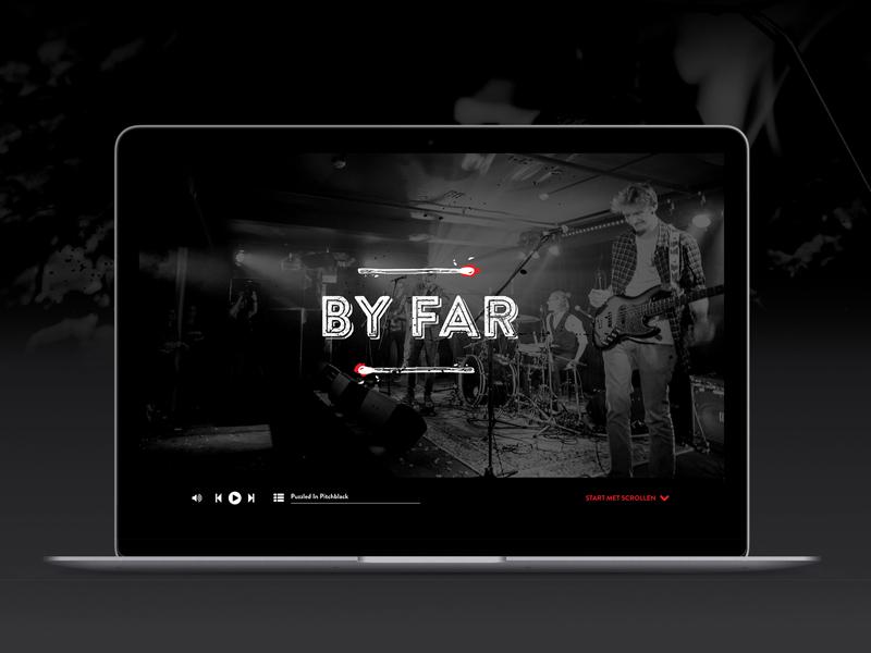 'By Far' identity fire vector typography match logo illustration webdesign branding music