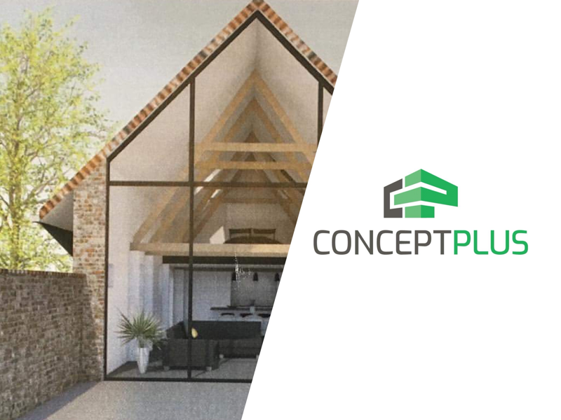 CONCEPT PLUS bold 3d perspective green graphic contractor rebrand branding identity logo house home