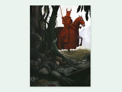 Red Knight medieval knight procreate illustration fantasy