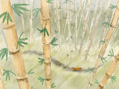 Fox in Bamboo Forest procreate app procreate art procreate atmospheric paint pencil illustration forest fox bamboo