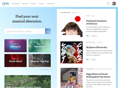 Rate Your Music Home Page Concept gradient music reviews features adobe xd content design desktop web design music