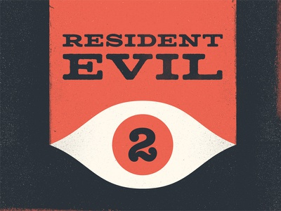 Resident Evil 2 video game illustration mid century eye lettering logotype texture typography horror gamer resident evil 2 resident evil