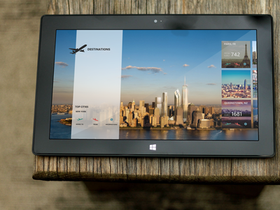 Destinations - homescreen 8 windows destinations travel app windows8 home screen