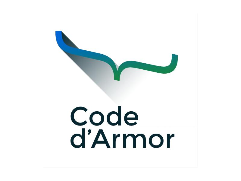 Code d'Armor new logo code darmor logo long shadow design developer community bracket