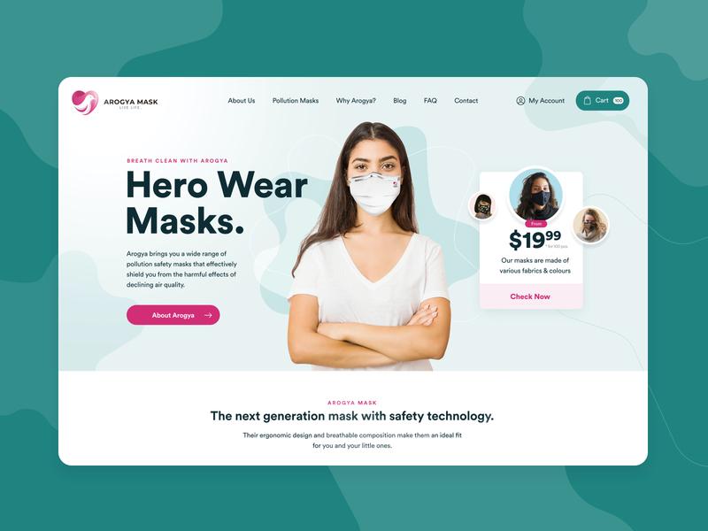 Arogya Mask 👨⚕️ technology product page product design webdesign medical protection covid-19 health mask typogaphy web ux ui illustration landing design minimal ecommerce website concept design