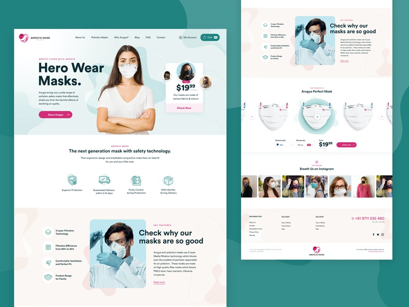 Arogya Mask 👨⚕️ web design typography minimal illustration health mask covid-19 ecommerce website concept web ui ux design