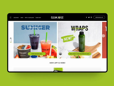 Clean Juice Concept Page 🍓🍍🍑 clean interaction animation typography branding healthy minimal website concept ux ui web design