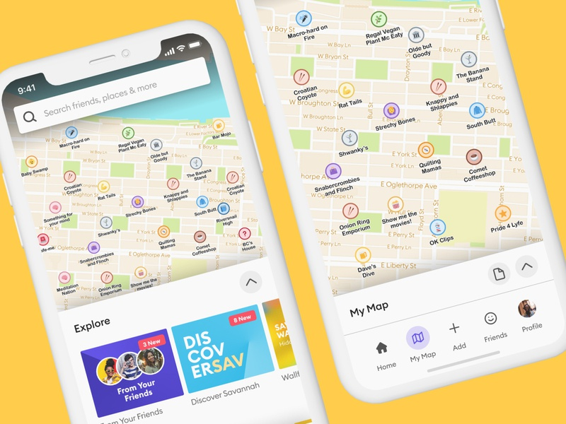 Pocket - Homescreen + My Map flat emoji social map typography branding application app ux design ui