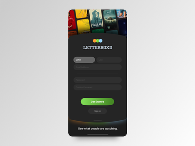 Letterboxd – Login Redesign dailyui app film movies movie login ui redesign letterboxd