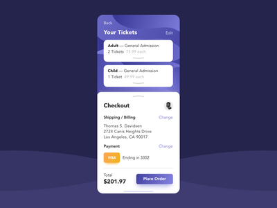Ticket App - Checkout UI ux checkout dailyui redesign ui app