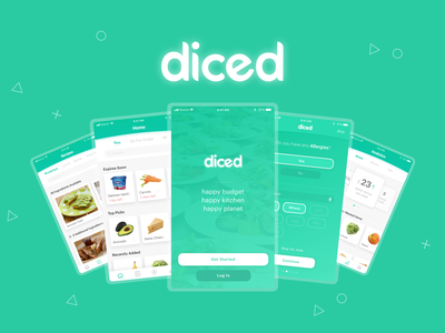 diced - a food management solution user experience design diced application typography ui ux redesign app branding app