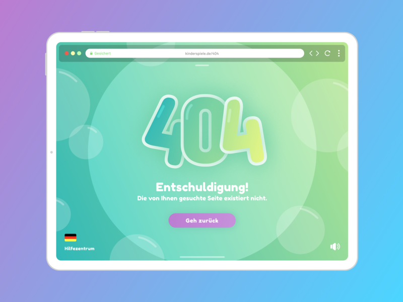 Children's 404 Page auf Deutsch logo lettering type minimal website flat web illustration vector typography design ui