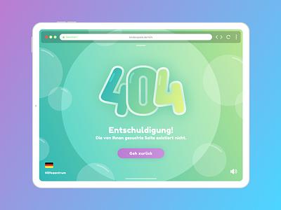 Children's 404 Page auf Deutsch logo lettering type minimal website flat web illustration vector typography design ui