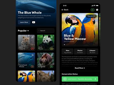 Endangered Animals Resource endangered animals app branding application redesign app design ui