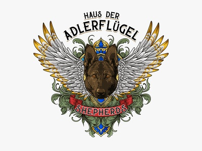 logo for Haus der Adlerflügel Shepherds wings dog logo dog illustration vector illustration logo design branding dog