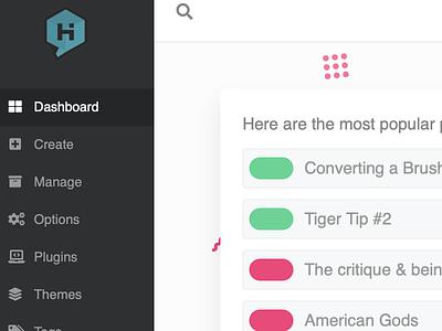 New Dash dashboard admin habari