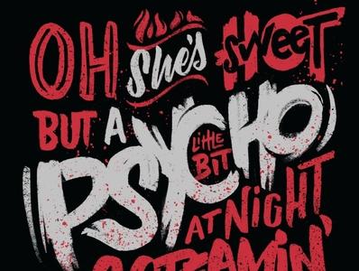 Sweet psycho procreatelettering procreate music lyrics hand lettering illustration type script custom lettering