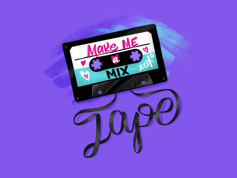Mix Tape Love 90s 80s procreate lettering lovers cassettetape illustration script type valentine valentinesday love