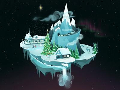 Christmas Wonderland Wallpaper  christmas wonderland wallpaper illustration snow ice winter holidays polar north