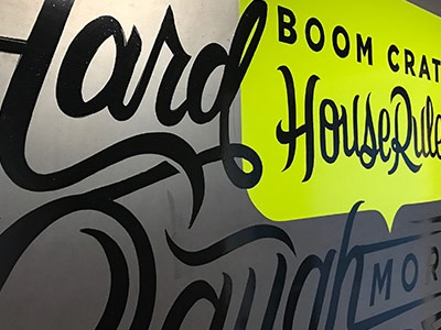 Boom Crate House Rules one shot paint pinstriping sign painting type script hand lettering lettering