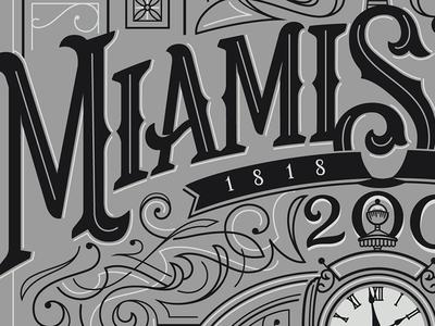 Miamisburg Bicentennial Commemorative Poster history celebration town city custom lettering illustrator vector screen print poster bicentennial