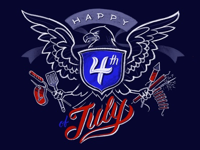 Happy 4th of July fireworks cookout summer july 4th america eagle illustration procreate
