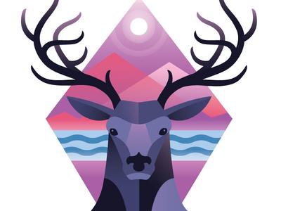 Deer Diamond drawing nature forrest animal illustration adobe illustrator vector deer