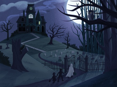End of the Street Trick or Treat vector night moon graveyard desktop background fall scary spooky house haunted trick or treat halloween procreate illustrator