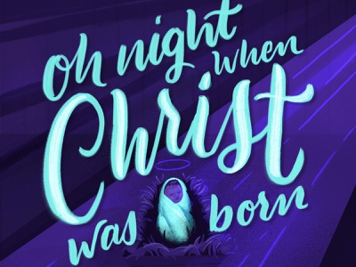 Night Divine 4-4 manger jesus faith christian holidays christmas typography hand lettering script custom illustration lettering