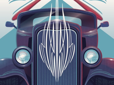 Pinstriping Poster illustration paint brush deuce coupe cars pinstriping adobe illustrator vector