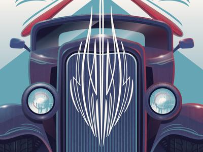Pinstriping Poster illustration paint brush deuce coupe cars pinstriping adobe illustrator vector