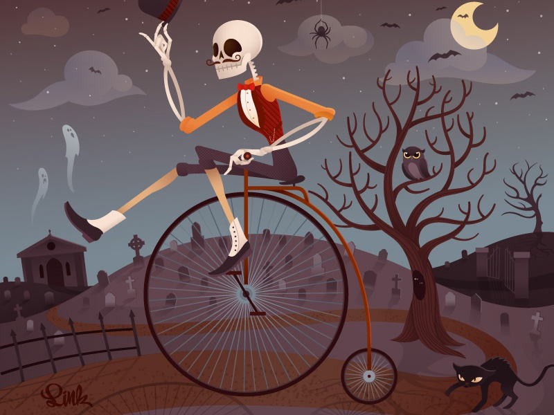 Victorian Skelly illustration halloween vector skelleton spooky scary night owl cat illustrator character design