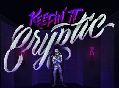Keepin' it Cryptic customtype lettering scary mummy procreate halloween halloween design