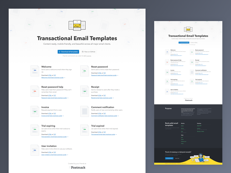 Transactional Email Templates Landing Page By Matt West For