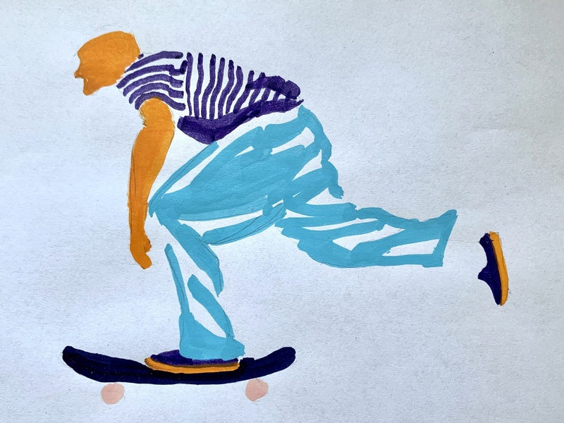 Mid-push hand drawn acrylics skater skate skateboarding doodle illustration