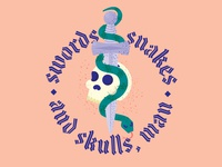 Swords, snakes and skulls, man