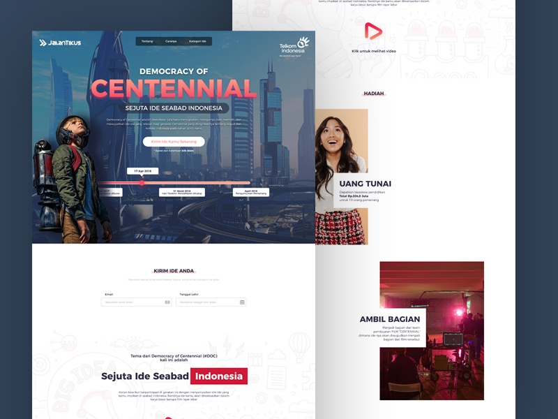 Democracy of Centennial page landing ux ui web design website