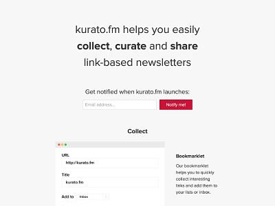 kurato.fm landing page landing page flat webdesign