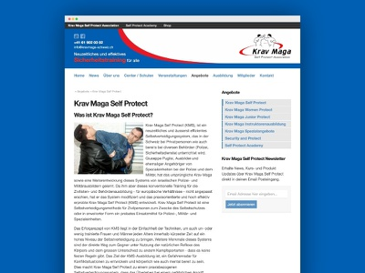 Krav Maga Self Protect Association Homepage webdesign