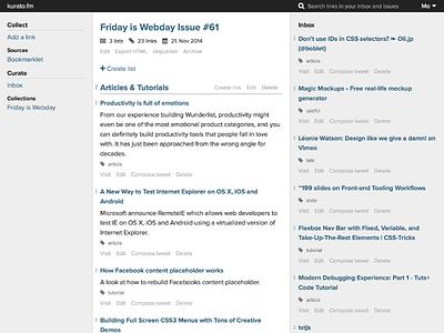 kurato.fm issue editor newsletter editor ui flat webdesign