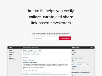 kurato.fm landing page v2 webdesign flat landing page
