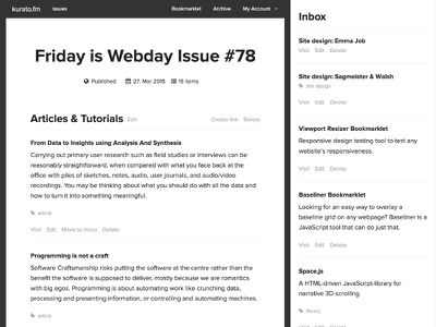 kurato.fm issue editor webdesign flat ui editor newsletter