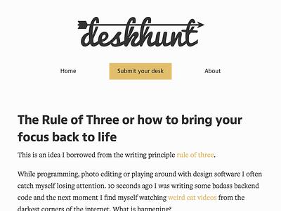 Desk Hunt site design web design flat blog