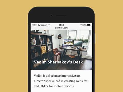 Desk Hunt mobile site design mobile web design flat