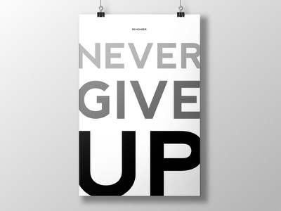 Remember: Never Give Up black and white posters prints