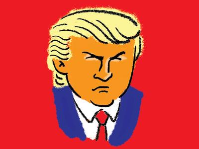 Top Tangerine trump yuge potus caricature illustration