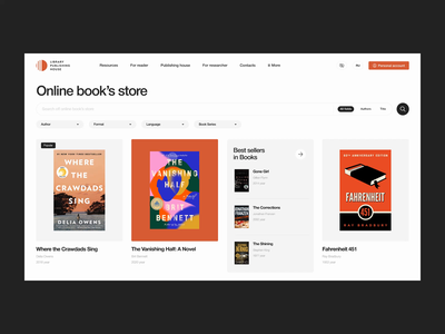 SFU - Motion principle publishing house design clear bookstore books web ui figma black