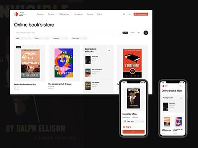 SFU Library Publishing House \ New case on Behance behance publishing house library design clear bookstore web ui figma black